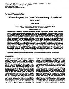 Africa: Beyond the new dependency: A political economy