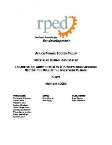 AFRICA PRIVATE SECTOR GROUP INVESTMENT CLIMATE ASSESSMENT