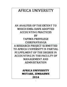 AFRICA UNIVERSITY MUTARE, ZIMBABWE