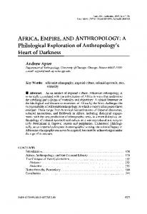 AFRICA,EMPIRE,AND ANTHROPOLOGY:A Philological Exploration of Anthropology's Heart of Darkness