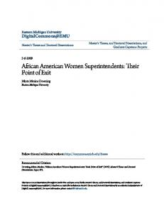 African American Women Superintendents: Their Point of Exit