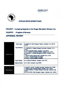 AFRICAN DEVELOPMENT BANK. PROJECT : Increasing Capacity on the Tanger-Marrakech Railway Line