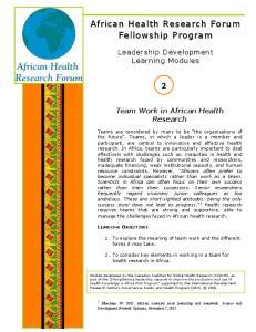 African Health Research R Forum Fellowship Program