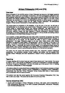 African Philosophy (UG) and (PG)