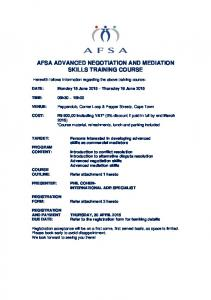 AFSA ADVANCED NEGOTIATION AND MEDIATION SKILLS TRAINING COURSE