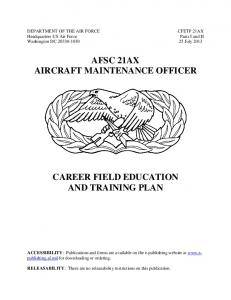 AFSC 21AX AIRCRAFT MAINTENANCE OFFICER