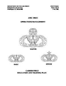AFSC 3E6X1 OPERATIONS MANAGEMENT