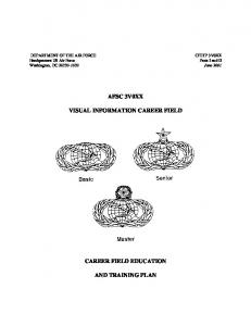 AFSC 3V0XX VISUAL INFORMATION CAREER FIELD