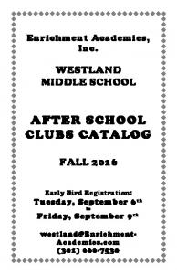 AFTER SCHOOL CLUBS CATALOG