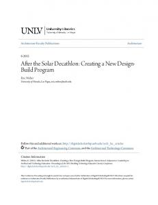 After the Solar Decathlon: Creating a New Design- Build Program