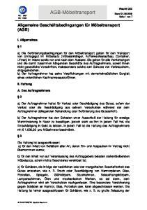 AGB-Möbeltransport. Allgemeine Geschäftsbedingungen für Möbeltransport (AGB)