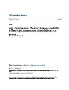 Age Discrimination: Monetary Damages under the Federal Age Discrimination in Employment Act