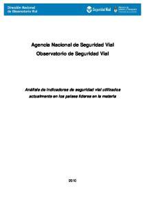 Agencia Nacional de Seguridad Vial Observatorio de Seguridad Vial