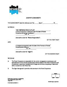 AGENCY AGREEMENT. THIS AGREEMENT dated for reference as of the day of, 20