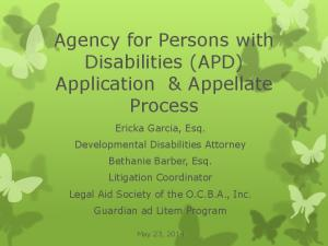 Agency for Persons with Disabilities (APD) Application & Appellate Process