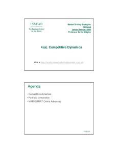 Agenda. 4 (a). Competitive Dynamics. Competitive dynamics Portfolio competition MARKSTRAT Online Advanced. Market Driving Strategies
