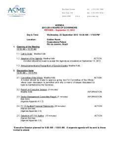 AGENDA BOARD OF GOVERNORS REVISED September 13, Wednesday, 25 September :30 AM 17:00 PM*