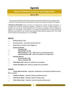 Agenda. Board of Medical Licensure and Supervision. July 14, 2011