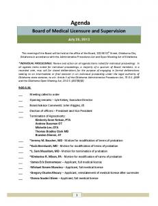 Agenda. Board of Medical Licensure and Supervision. July 25, 2013