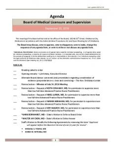 Agenda. Board of Medical Licensure and Supervision. September 22, 2016