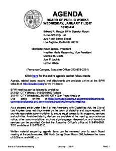 AGENDA BOARD OF PUBLIC WORKS WEDNESDAY, JANUARY 11, :00 AM