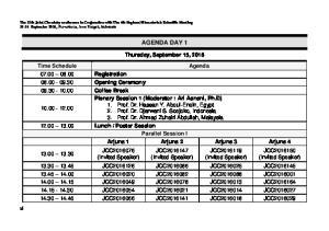 AGENDA DAY 1. Thursday, September 15, JCC (Invited Speaker)