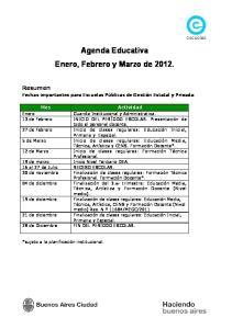 Agenda Educativa Enero, Febrero y Marzo de 2012