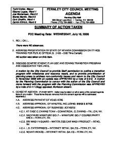 AGENDA Fernley City Hall 595 Silver Lace Blvd. Fernley, NV Phone: (775) Fax: (775)