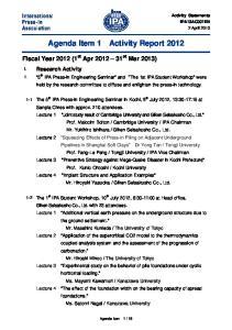 Agenda Item 1 Activity Report 2012