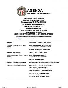 AGENDA LOS ANGELES CITY COUNCIL