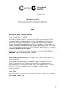 AGENDA MES DE ABRIL. Actividades Cervantinas de Embajadas y Centros Culturales SEDE