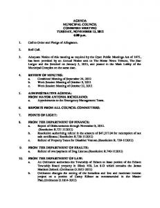 AGENDA MUNICIPAL COUNCIL COMBINED MEETING TUESDAY, NOVEMBER 13, :00 p.m