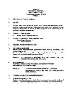 AGENDA MUNICIPAL COUNCIL REGULAR MEETING Wednesday, November 28, :00 p.m