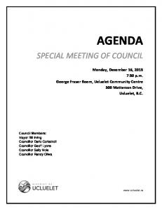 AGENDA SPECIAL MEETING OF COUNCIL