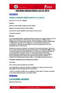 AGENDA VACACIONES JULIO 2014