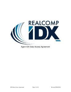 Agent IDX Data Access Agreement