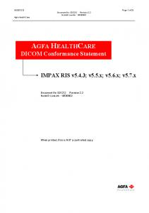 AGFA HEALTHCARE DICOM Conformance Statement