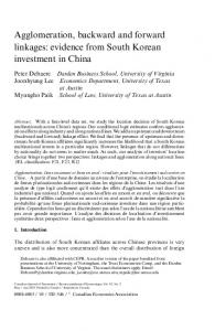 Agglomeration, backward and forward linkages: evidence from South Korean investment in China
