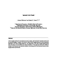 Aggregate Labor Supply. Department of Economics, Arizona State University
