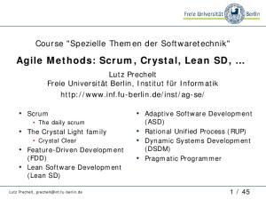 Agile Methods: Scrum, Crystal, Lean SD,