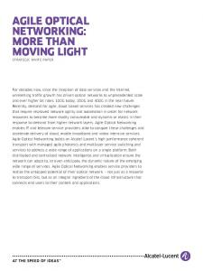 AGILE OPTICAL NETWORKING: MORE THAN MOVING LIGHT Strategic White Paper