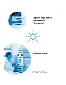 Agilent 1100 Series Autosampler Thermostat. Reference Manual