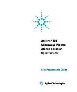 Agilent 4100 Microwave Plasma Atomic Emission Spectrometer. Site Preparation Guide