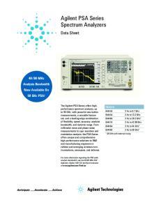 Agilent PSA Series Spectrum Analyzers