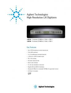 Agilent Technologies High-Resolution LXI Digitizers