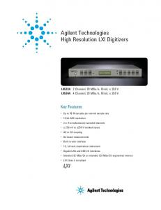 Agilent Technologies High Resolution LXI Digitizers