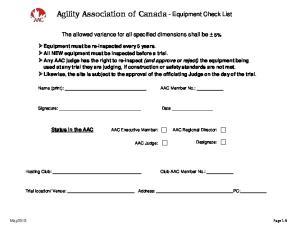 Agility Association of Canada - Equipment Check List