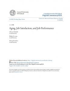 Aging, Job Satisfaction, and Job Performance
