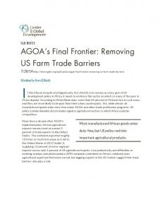 AGOA s Final Frontier: Removing US Farm Trade Barriers