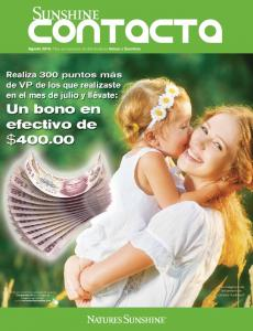 Agosto Para uso exclusivo de distribuidores Nature s Sunshine